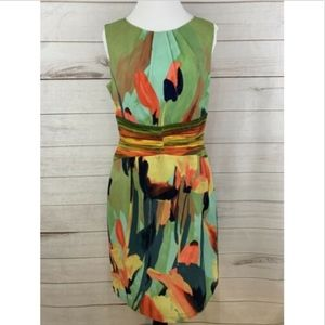 Adrianna Papell Abstract Floral Dress Sleeveless